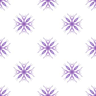Watercolor medallion seamless border. purple juicy boho chic summer design. textile ready artistic print, swimwear fabric, wallpaper, wrapping. medallion seamless pattern.