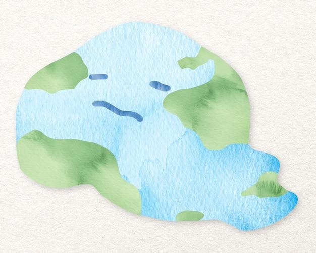 水彩の溶ける地球のデザイン要素