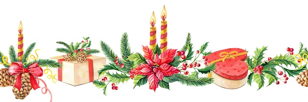 Watercolor merry christmas seamless border.