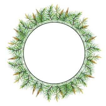 Watercolor merry christmas wreath with pine,spruce  .