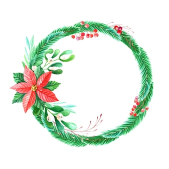Watercolor merry christmas wreath with red poinsettia