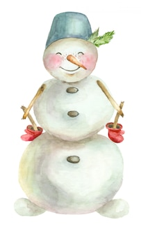 Watercolor merry snowman