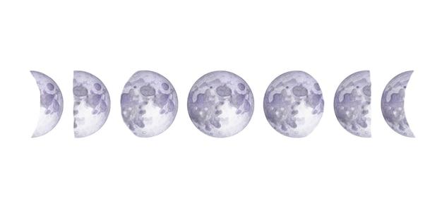 흰색 배경에 수채화 달의 위상