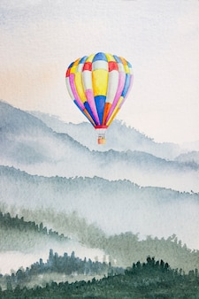 Watercolor mountain background drawn by brush. colorful paints hot air balloon on paper texture wallpaper for design, print, book cover, backdrop, bright watercolor background. abstract illustration