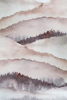 紙のテクスチャにブラシペイントの性質によって描かれた水彩山の背景