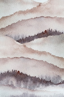 Watercolor mountain background drawn by brush paint nature on paper texture