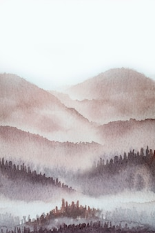 Watercolor mountain background drawn by brush paints nature on paper texture