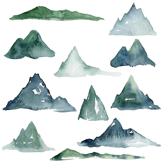 Watercolor mountains collection