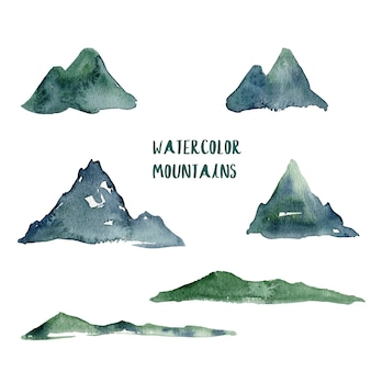 Watercolor mountains illustration