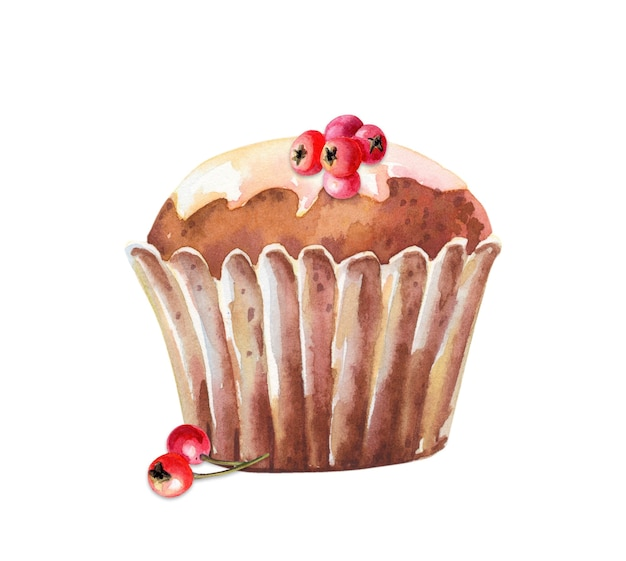 Watercolor muffin with red berry. cute cupcake izolated on white background. watercolour food illustration. hand drawn image.