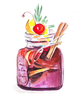 Watercolor mulled wine with spices in nice glass with cherry, cinnamon and lemon, isolated illustration on white
