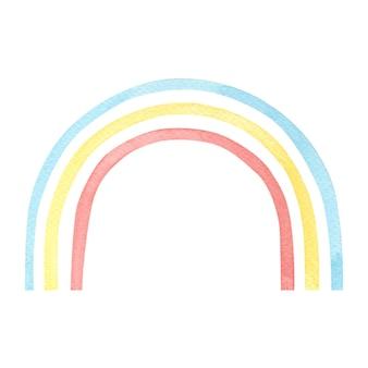 Акварель разноцветная радуга на белом