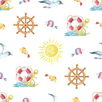 Watercolor nautical seamless pattern.