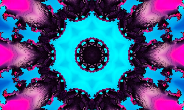 Акварель неоновый голубой темно-синий черными чернилами квадратный естественный рисунок качества фотографии.