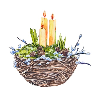 Watercolor nest with easter candles and willow branches. hand draw watercolor illustrations on white background. easter collection.