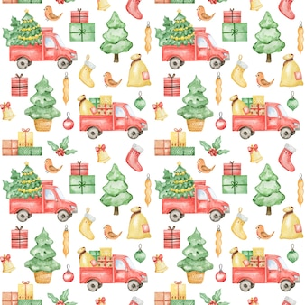 Watercolor new year 2021 pattern, merry christmas background, hand drawn christmas pattern, winter textile  design, christmas truck, spruce tree, gift, xmas pattern design, wrapping paper