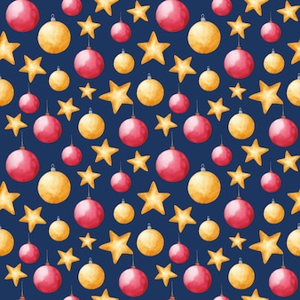 Watercolor new year and christmas toys seamless pattern on blue background