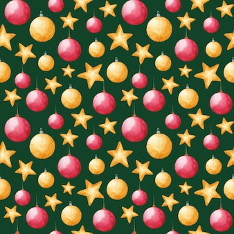 Watercolor new year and christmas toys seamless pattern on green background