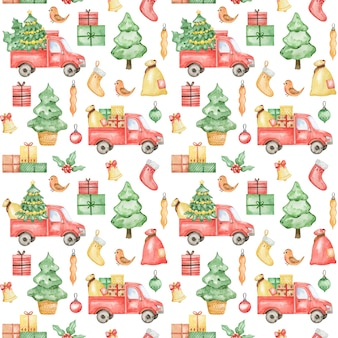Watercolor new year pattern, merry christmas background, christmas truck, spruce, pattern design