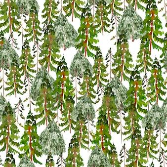 Акварель новогодний узор с елками и соснами иллюстрации