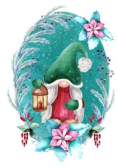 Акварельная новогодняя открытка гном с фонариком на зеленом фоне.