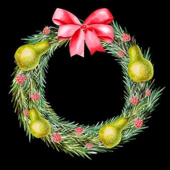 Акварельный новогодний венок с ягодами и грушей