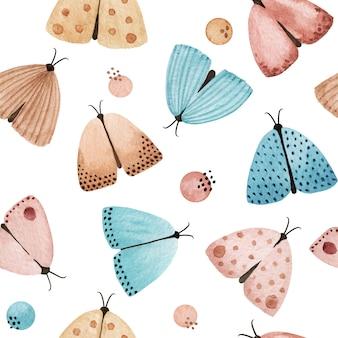水彩の夜蛾のシームレスなパターン。蝶の背景、柔らかい手描きのプリント