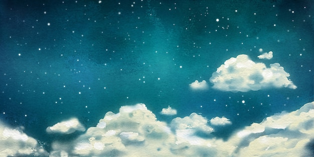 積雲のある水彩画の夜の劇的な風景
