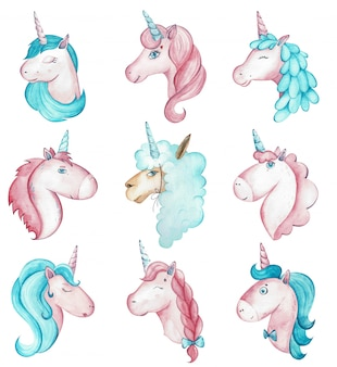 Watercolor nine vibrant magical creatures, unicorns and alpaca