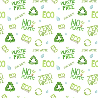 Watercolor no plastic, ecological quotes pattern on white background