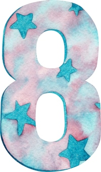 Watercolor number eight with pink and blue colors and stars.