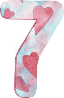 Watercolor number seven with pink and blue colors and hearts.