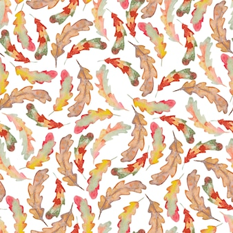 Watercolor oak autumn leaf seamless pattern