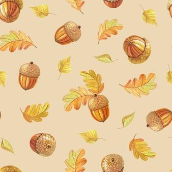 수채화 오크 잎과 베이지색 배경에 도토리.가 완벽 한 패턴입니다. 숲 잎 fall.watercolour 인쇄, 섬유, 포장지, 스크랩북, 벽지에 대한 부드러운 컬러 그림.
