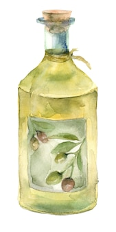 Watercolor olive oil bottle