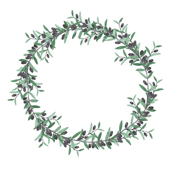 Watercolor olive wreath. isolated illustration on white wall.