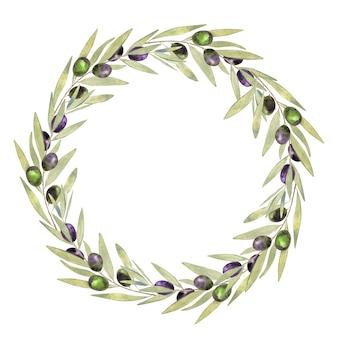 白で隔離の水彩オリーブの花輪