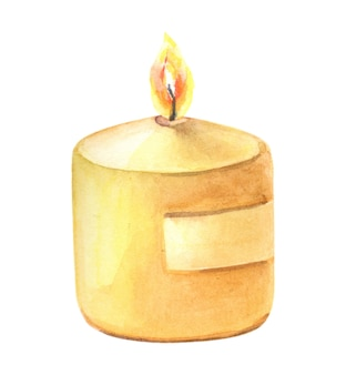 Акварель одна свеча на белом фоне. акварель изолированный элемент.