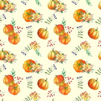 노란 장미, 녹색 잎, 밝은 배경에 붉은 베리가 있는 수채화 오렌지 호박. 원활한 패턴입니다. 꽃과 야채의 가을 수확 그림입니다. 인쇄, 섬유, 직물에 대한 식물 예술입니다.