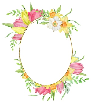Watercolor oval frame of first spring flowers yellow and pink tulips, daffodils