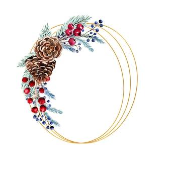 열매, 전나무 콘, 전나무 가지 수채화 타원형 프레임.