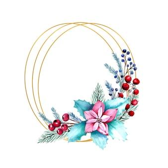 열매, 포 인 세 티아 꽃, 전나무 가지와 수채화 타원형 프레임.