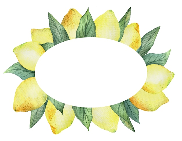 Watercolor oval frame with bright yellow lemons and leaves on a white background, bright summer design.