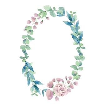 유칼립투스 잎 수채화 타원형 핑크 장미 프레임 흰색 배경에 고립