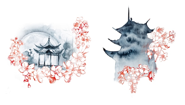 Watercolor pagoda painting.east themed hand painted painting.