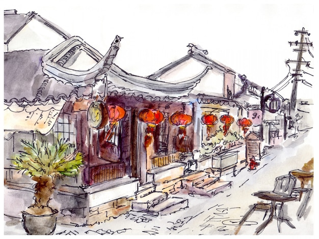 Watercolor painted chinese old town, cafe and red lanterns