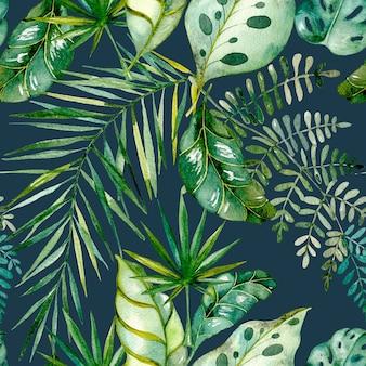 수채화는 열대 잎과 가지를 그렸다. 팜, 몬스 테라, 바나나 잎의 색된 이국적인 꽃 모음.