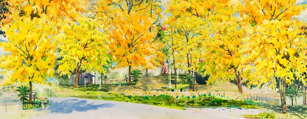 Watercolor painting of autumn trees