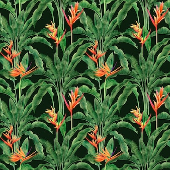 Watercolor painting bird of paradise blooming flowers colorful seamless pattern background