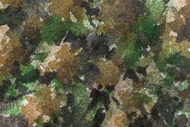 Watercolor painting on canvas with olive, black and brown spots